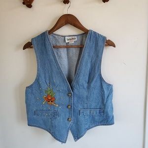 Vintage Embroidered Western Denim Vest | Large